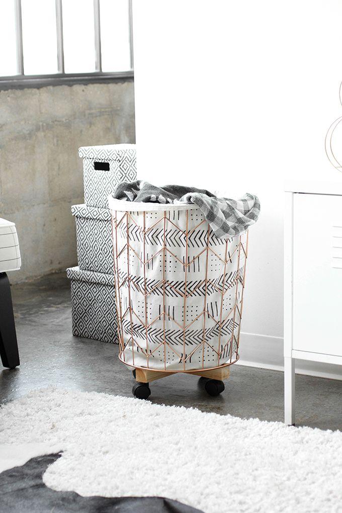 » MY DIY | Mudcloth Print Cotton Canvas & Wire Hamper