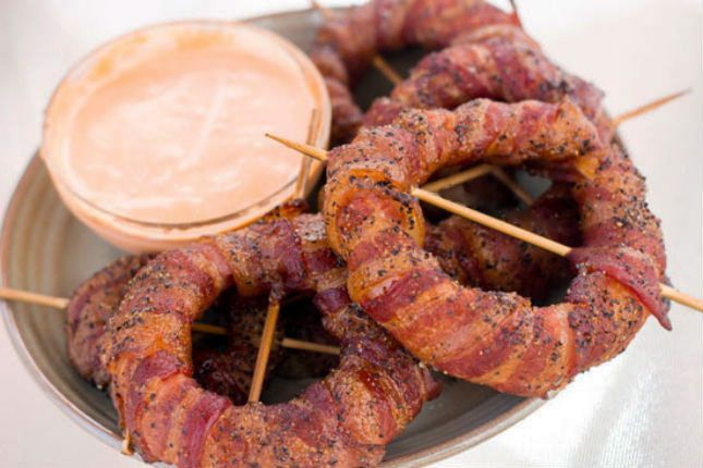 OMG. Bacon Wrapped Onion Rings.