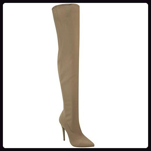 Damen Overknee-Stiefel mit High Heels aus Lycra-Stretchmaterial - Mokkabraun hell Lycra - EUR 37 - Stiefel für frauen (*Partner-Link)
