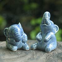 Adorable blue elephant ceramic #statuettes from Thailand