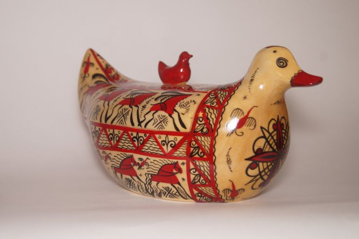 Wooden painted Russian style traditional salt -cellar - pipkin duck by RussianStore on Etsy