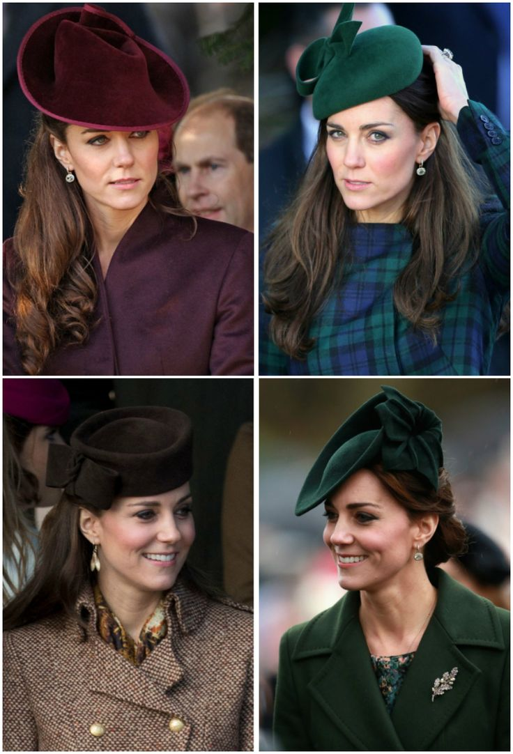 Various hats worn by Catherine, Duchess of Cambridge for the Christmas Day church service at Sandringham 2011-2015. She did not wear at hat in 2012.