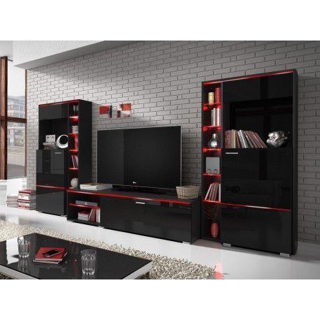 Meblościanka Anton czarny / czarny połysk 22WU2410  Stan: Nowy produkt  Funkcjonalna meblościanka o niedużych wymiarach idealna do pokoju lub małego salonu. Świetnie sprawdzi się także jako mebel młodzieżowy. Fronty w wysokim połysku prezentują się wyjątkowo efektownie.