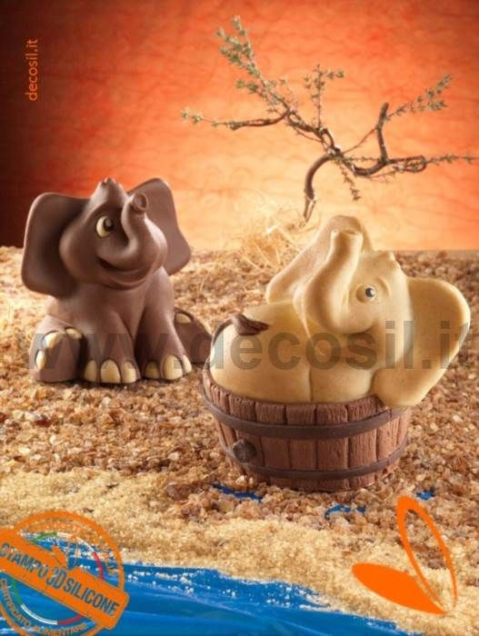 Stampo Elefantino nella tinozza - stampo per elefante nella tinozza di cioccolato, elefante nella tinozza di cioccolato, cioccolato con elefante nella tinozza, elefante di cioccolata che fa il bagno nella tinozza