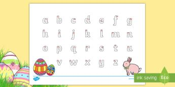 Australia - Easter Lowercase Alphabet Tracing Activity Sheet - EYLF, Australia, Easter, Literacy, writing, letter formation,Australia, handwriting,