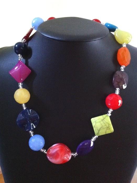 NEW :: Multi Coloured Chunky Beaded Handmade Necklace, 54cm - Costume Statement Handmade Jewellery - Australian Designer  - www.robyndymond.com.au