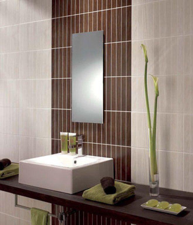 muebles de baño para azulejos blancos con decoración wengué | Decorar tu casa es facilisimo.com