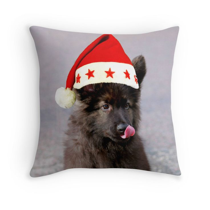 #GermanShepherd #puppy #Dog #Christmas Hat #pillow #animal #pet #xmas #giftideas