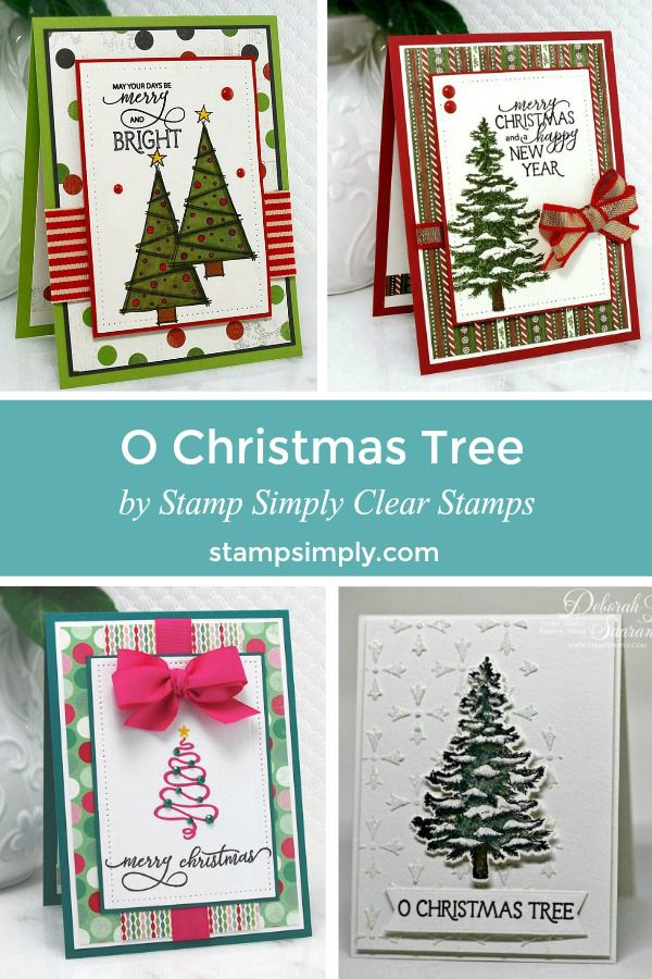 Festive Christmas Cards Using O Christmas Tree Stamp Set From Stamp Simply Clear Stamps Christmas Tree Cards New Year Cards Handmade Christmas Cards