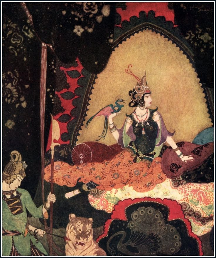 "She would sit for hours, with the bird perched on the back of  her hand, listening to its soft intonation of that one word ""Majnun""  - Layla, Edmund Dulac's Picture Book for the Red Cross"