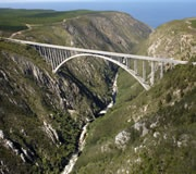 Bloukrans Bridge, Garden Route, South Africa. Recognized as the worlds highest commercial bungy jump. Been there done that.