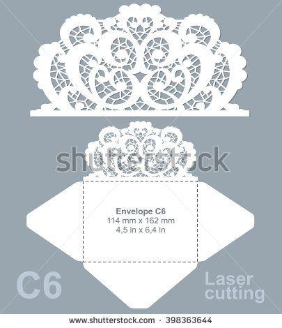 Vector die laser cut envelope template. Invitation envelope C6. Wedding lace invitation mockup.