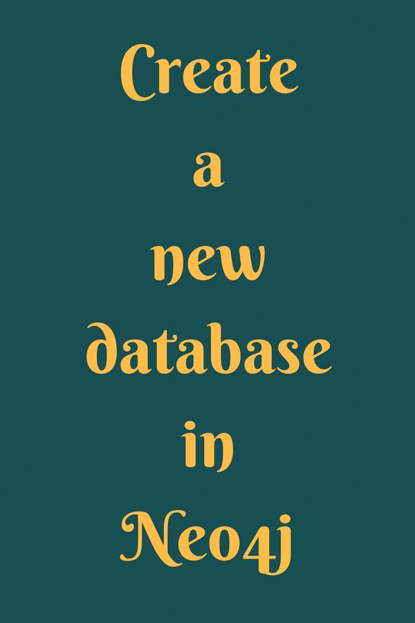 Create a new database in neo4j