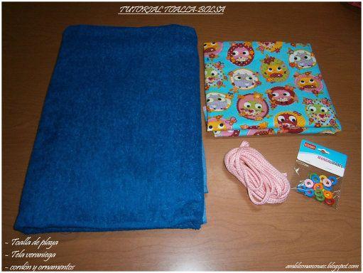 toalla que se convierte en bolsa, ideal para ir a la playa o piscina, y disfrutar del verano.