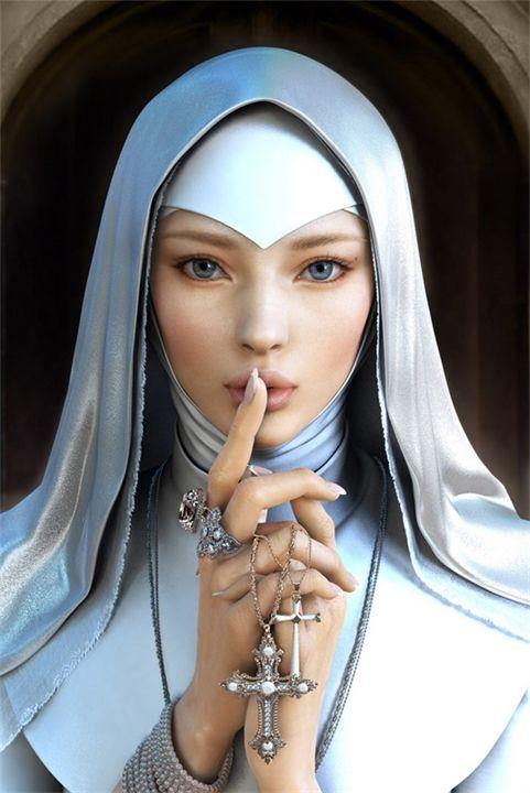 Монашка с крестом картинка