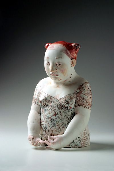 we swim with the fishes, , figurative ceramic sculpture