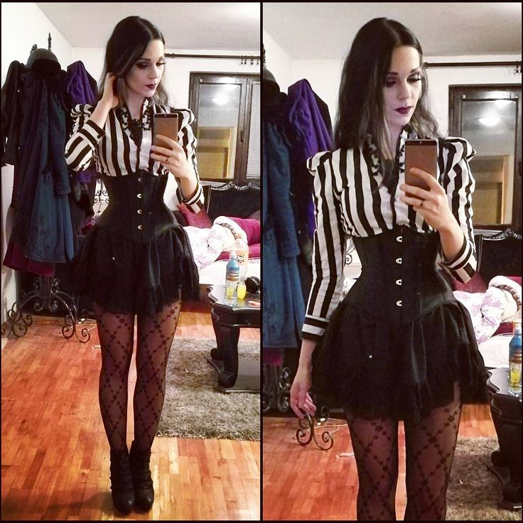 I haven't made any of these #ootd photos for a while. Heres one before I start spamming you all with wgt ones in a few days hahaha. I have 30 hours left to finish my outfit so wish me luck :D #dark #gothic #stripes #black #clothes #lace #beetlejuice #fashion #alternative #gothic #goth