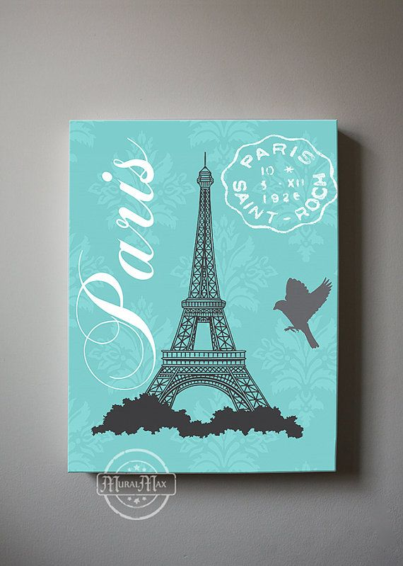 Eiffel Tower Canvas Art Paris Bedroom Decor, Girls Room Decor, Teen or Girl Nursery Decor ,Aqua and Gray Decor