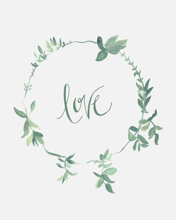 Love Sage Green Wreath 8 X 10 Calligraphy Art Print