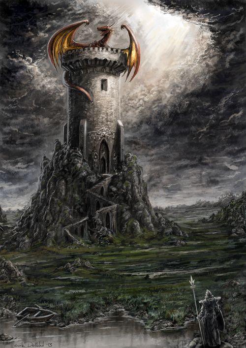 картинка дракон над замком времён первобытного человека
