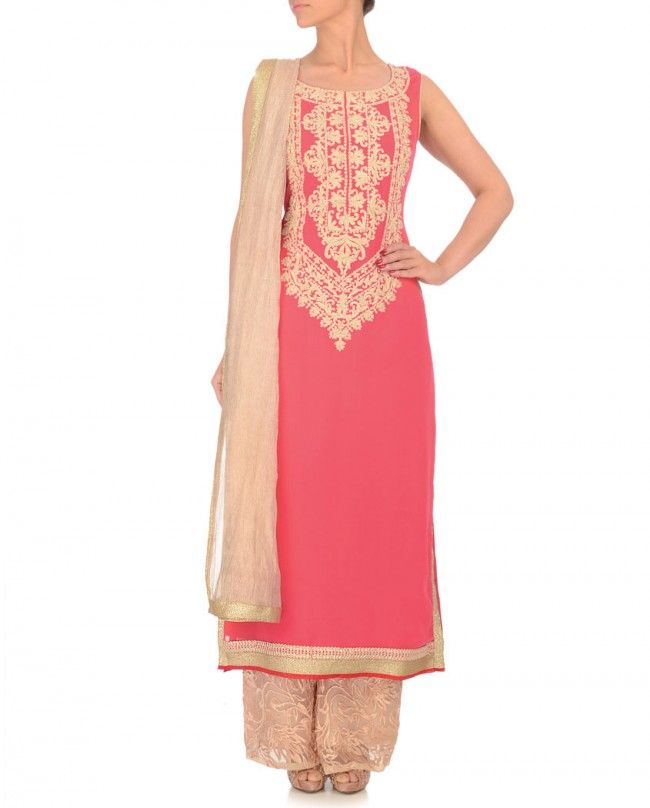 ADAA | NANDINI & KAVITA Coral Pink Suit with Embroidery