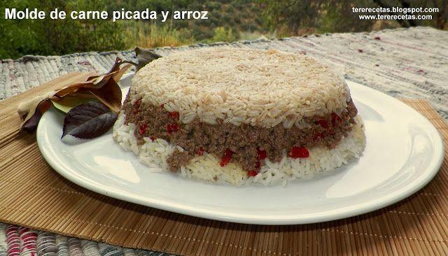 Molde de carne picada y arroz. :>Las recetas de Tere;;