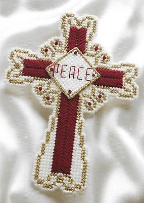 **CHRISTMAS PEACE CROSS TO STITCH**PLASTIC CANVAS PATTERN**