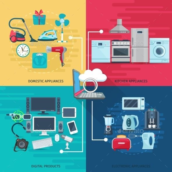 Household Icons Composition Square Concept