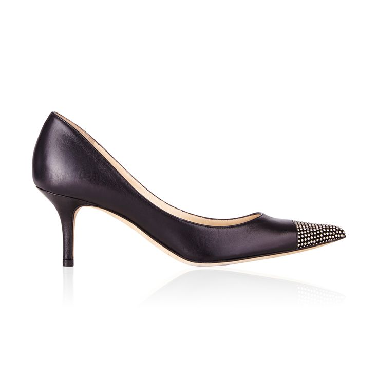 Jimmy Choo Anvil Nappa Leather Pump Black/Silver - The Black Anvil Nappa Leather Sophisticated pumps with silver metal studded cap toe are very classy with their moderate heel but also give a hint of edge.
