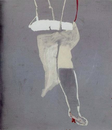 """Teresa Pągowska """"Schodząca, z cyklu Monochromy"""", 1972, tempera, akryl na płótnie, wymiary 150.5x129,5 cm"""