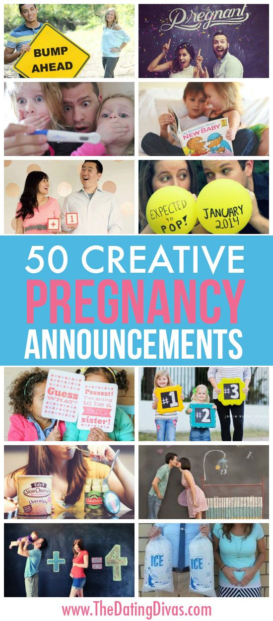 50 funny, cute, and creative pregnancy announcement ideas www.TheDatingDivas.com
