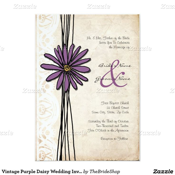 "Vintage Purple Daisy Wedding Invitations 5"" X 7"" Invitation Card"