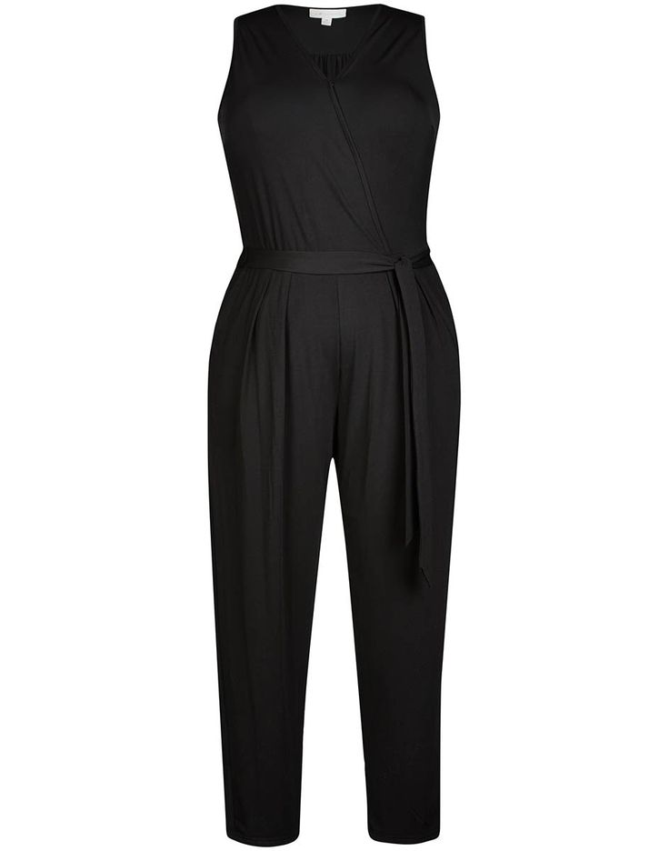 Autograph Wrapover Jumpsuit. Keep right on trend in this gorgeous Wrapover Jumpsuit. The flattering wrapover v-neckline draws the eye down the body for a slimming effect and the belt loops for the waist tie nips the piece in at the waist adding shape. Boasting tapered leg, 2 side pockets and no sleeves; you can add statement jewellery for a stylish finish.