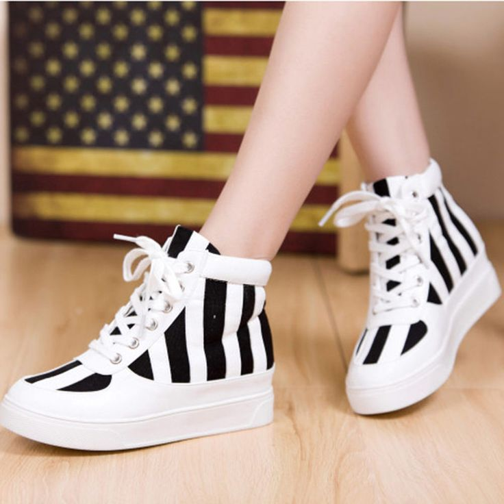 New Fashion Womens Ladies Korean Canvas High Platform Shoes Boots Sneakers