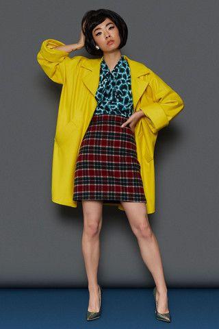BLACK FRIDAY SALE: FULL LOOK: The Cocoon Coat - Yellow |The Bow Blouse - Giraffe | The Mini Skirt - Tartan Wool | Tara Starlet