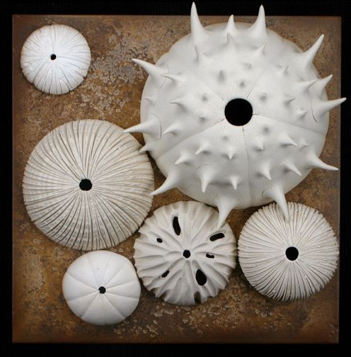 Andy Rogers… his pottery is fun & unique, most are inspired by seeds/pods/pollen, but I saw much that reminded me of sea shells as well!!  I saw his work today at the American Craft Council Show in St Paul.
