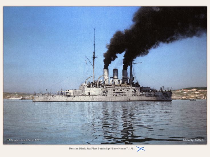 "Russian Black Sea Fleet battleship ""Panteleimon"" (formerly named the ""Potemkin""), 1911. On June 24th 40 sailors suspected of being mutinous were taken off the Potemkin. On June 27th crew members refused to eat maggoty meat and then thought they were going to be shot as mutineers. They turned on their officers, killing seven of them, including the captain, before sailing into Odessa. Photo taken in 1906. By then the ship was renamed to ""Saint Panteleimon""."