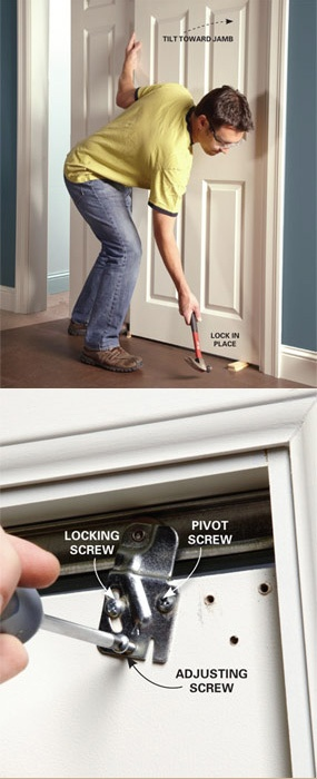 Fix sticking or badly aligned bypass closet doors in 15 minutes using this simple adjustment technique. Learn how to do this yourself for FREE at http://www.familyhandyman.com/DIY-Projects/Doors---Windows/Door-Repair/how-to-adjust-bypass-closet-doors