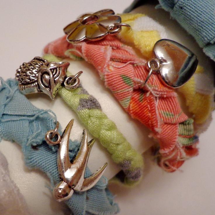 Pastel Girly Bracelet Braided Charm Bracelet Stack with Bows. $6.50, via Etsy.