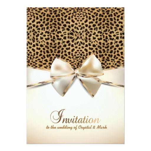 leopard skin print wedding event invitation