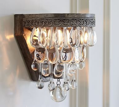 Crystal Wall Sconce Plug In : Fresh Farmhouse Crystal Sconce DIY - lighting Pinterest Posts, Sconces and Crystals