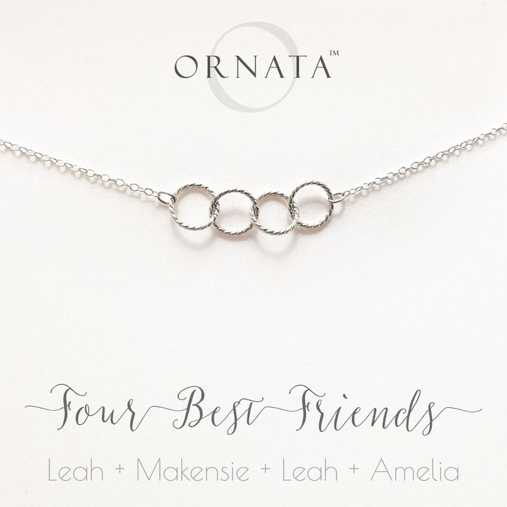 FOUR BEST FRIENDS PERSONALIZED STERLING SILVER NECKLACES FRIENDS & SISTERS JEWELRY BEST FRIENDS NECKLACE GIFT FOR BFFS