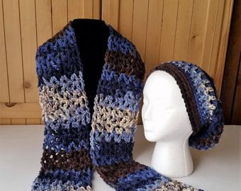 Sombrero del ganchillo y conjunto de bufanda, sombrero flexible y bufanda, sombrero del invierno y bufanda Set