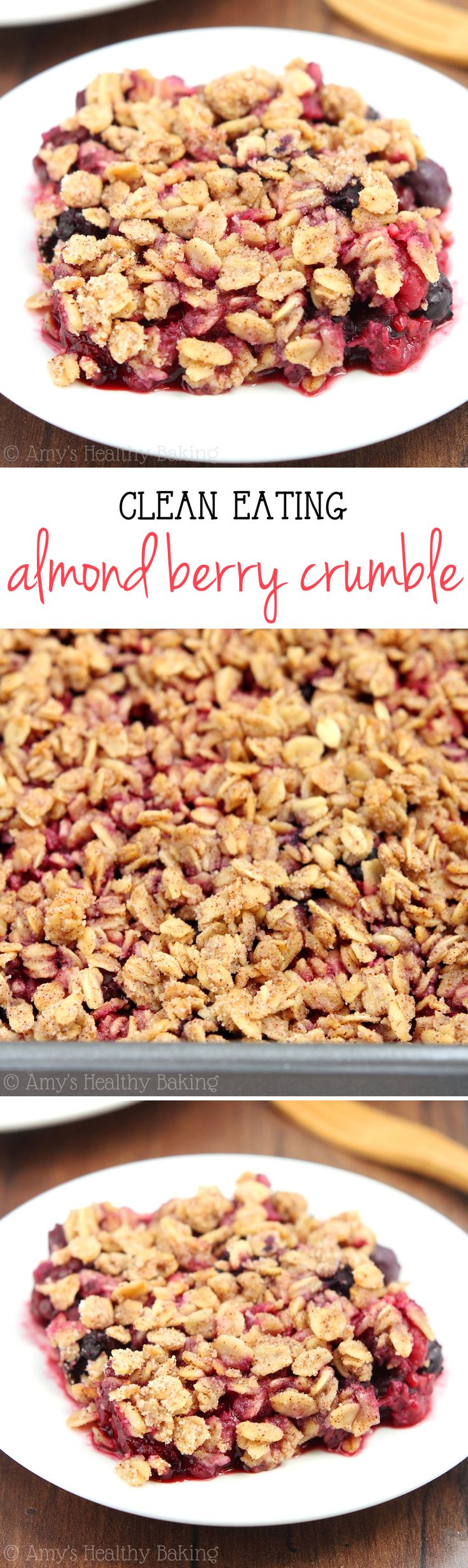 Clean-Eating Almond Berry Crumble -- this easy dessert is healthy enough for breakfast! It has a full serving of fruit & just 130 calories!