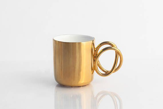Porcelain cup painted with real gold ceramic mug for coffee