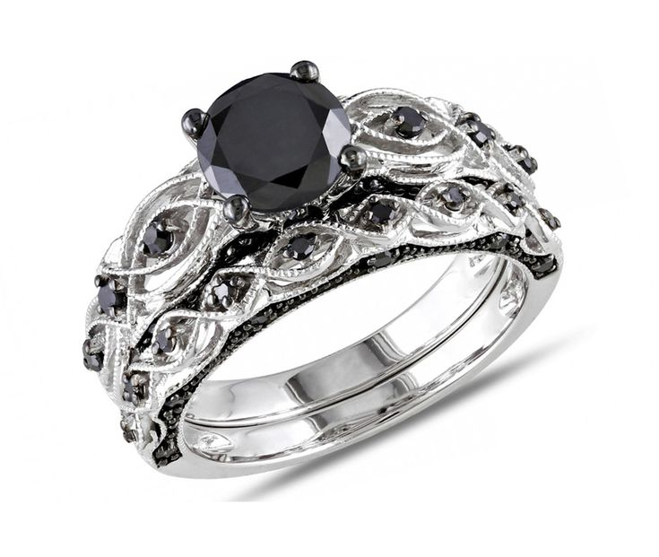 black diamond wedding ring sets for women