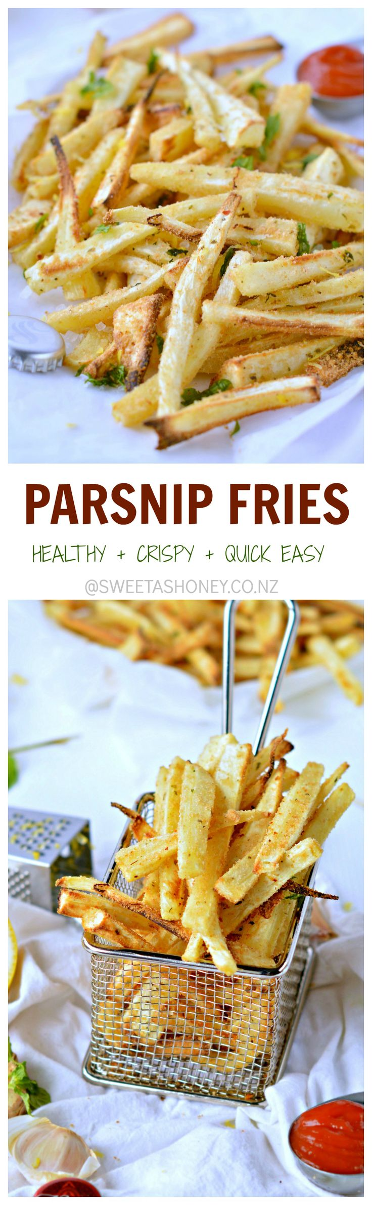 Super addictive Healthy Crispy Parsnip Fries with lemon + olive oil + mint + garlic. Only 85 kcal/100 g, 4WW. #glutenfree