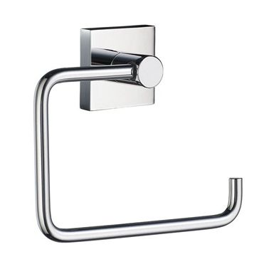 House - Toilet Roll Holder in Polished Chrome. Concealed fastening. Combining an angular mounting plate contrasting to the soft curves of each functional part. The core material is solid brass, finished in brushed or polished chrome.