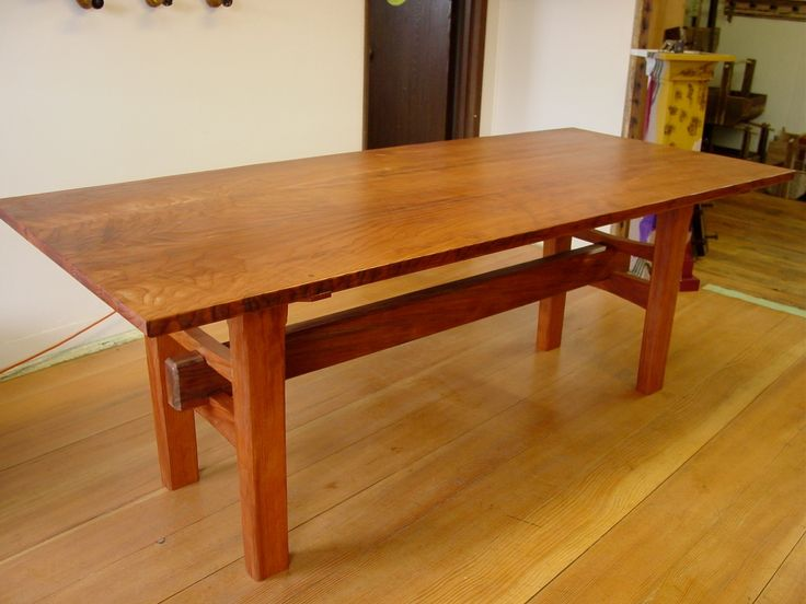 Japanese Dinner Table from heritage salvage, custom made redwood table with japanese