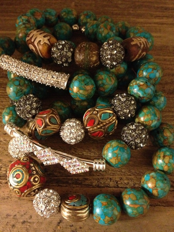 5 Bracelet stack with Large Turquoise and Tibetan by AddieandIsaac, $72.00
